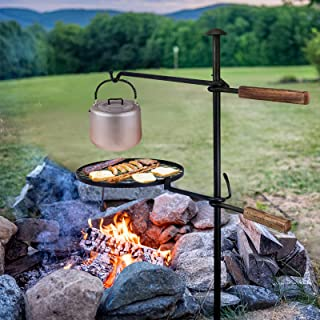 Lägereld svängbar grill grillrost, 360° justerbart grillgaller med markspett vev, grillgalgar galler för eldskål camping p...