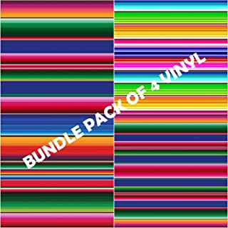 Vinyl Boutique Shop Craft Serape Mexican Vinyl Sheets - Blanket Bundle Pack of 4 Vinyl (Heat Transfer Vinyl)