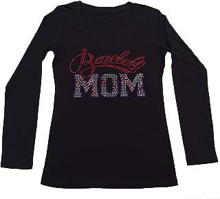 Women's T-Shirt with Red Baseball Mom in Rhinestones