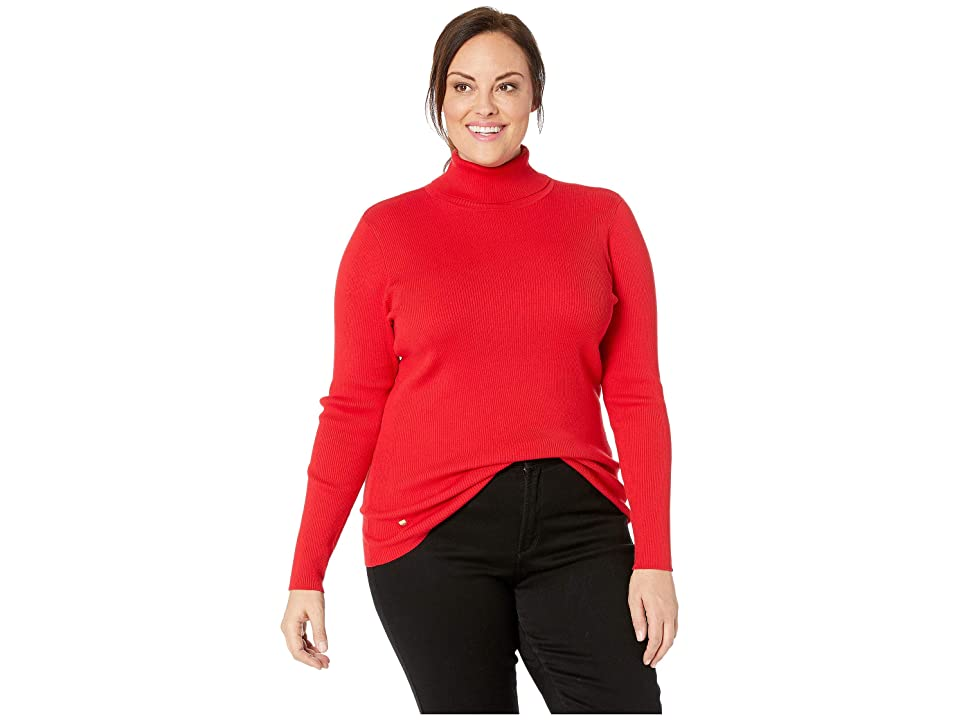 LAUREN Ralph Lauren Plus Size Turtleneck Sweater (Lacquer Red) Women
