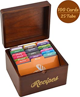 Akshaya Vintage Wooden Recipe Box with 100 recipe cards 4x6 and 25 dividers | Perfect Kitchen Cooking Gift Set idea for Mom Women Grandma Bridal Shower Wedding House Warming