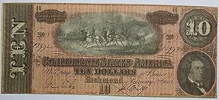 1864 Richmond Confederate States of America Hand Signed Original Note (Please See Description) $10 Crisp Uncirculated #80