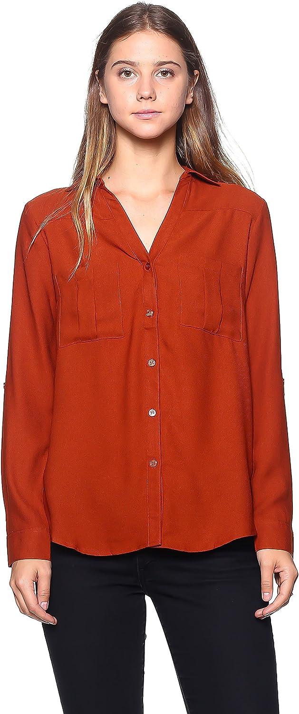 Rokoko Women's V Neck Woven Button Down Blouse Shirt