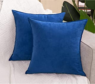 Zealax 2-Pack Decorative Throw Pillow Covers Cases Comfortable Faux Suede Pillowcases for Sofa Couch Living Room Decor, 18 x 18 inches, Blue