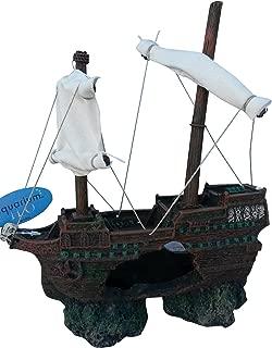 Shipwreck with Sailes Aquarium Ornament