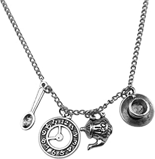 Spoon Necklace Wonderland Teapot Spoon Tea Time Clock Time Cup Saucer Snuff Charm