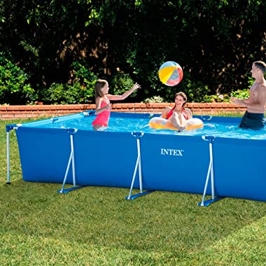 Intex 28273EH 14.75ft x 33In Rectangular Frame Outdoor Easy Assemble Backyard Above Ground Swimming Pool w/Flow Control Valve