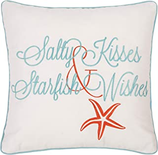 C&F Home Salty Kisses and Starfish Wish Embroidered Saying Cream Blue Coastal Beach Tropical Vacation Decorative Accent Pillow 18 x 18