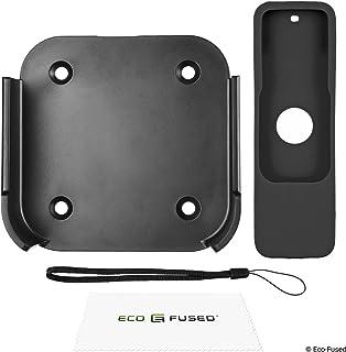 Eco-Fused Soporte de Pared y Cubierta de Control Remoto Compatible con Apple TV 4 / Apple TV 4K – Ajuste Fácil de Instalar – Soporte con Marco – Protector Antideslizante de Silicona