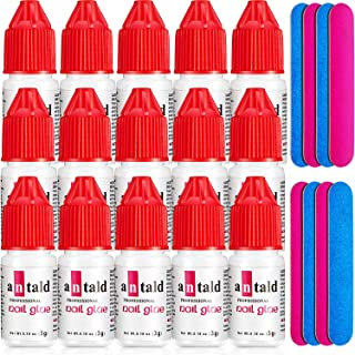 15 Pieces Nail Glue Nail Extension Tips Glue Quick-dry Nail Tip Glue and 8 Pieces Nail Files Double Sided Emery Board for Nail Salon Nail Art Acrylic False Nails DIY Manicure Supplies