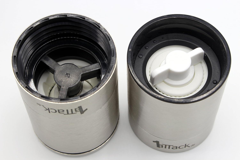 color negro cristal, anillo de acero inoxidable, finura ajustable, 140 ml sal y pimienta Juego de 2 molinillos de pimienta