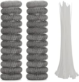 ONUPGO 24 Pack Lint Traps for Washing Machine, Lint Trap Snare Laundry Mesh Washer Hose Filter with Nylon Cable Ties, Stainless Steel Mesh Filter Won't Rust, Easy Installation