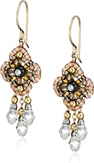 Miguel Ases Pink Clover Swarovski 14k Gold Filled Dangle Earrings
