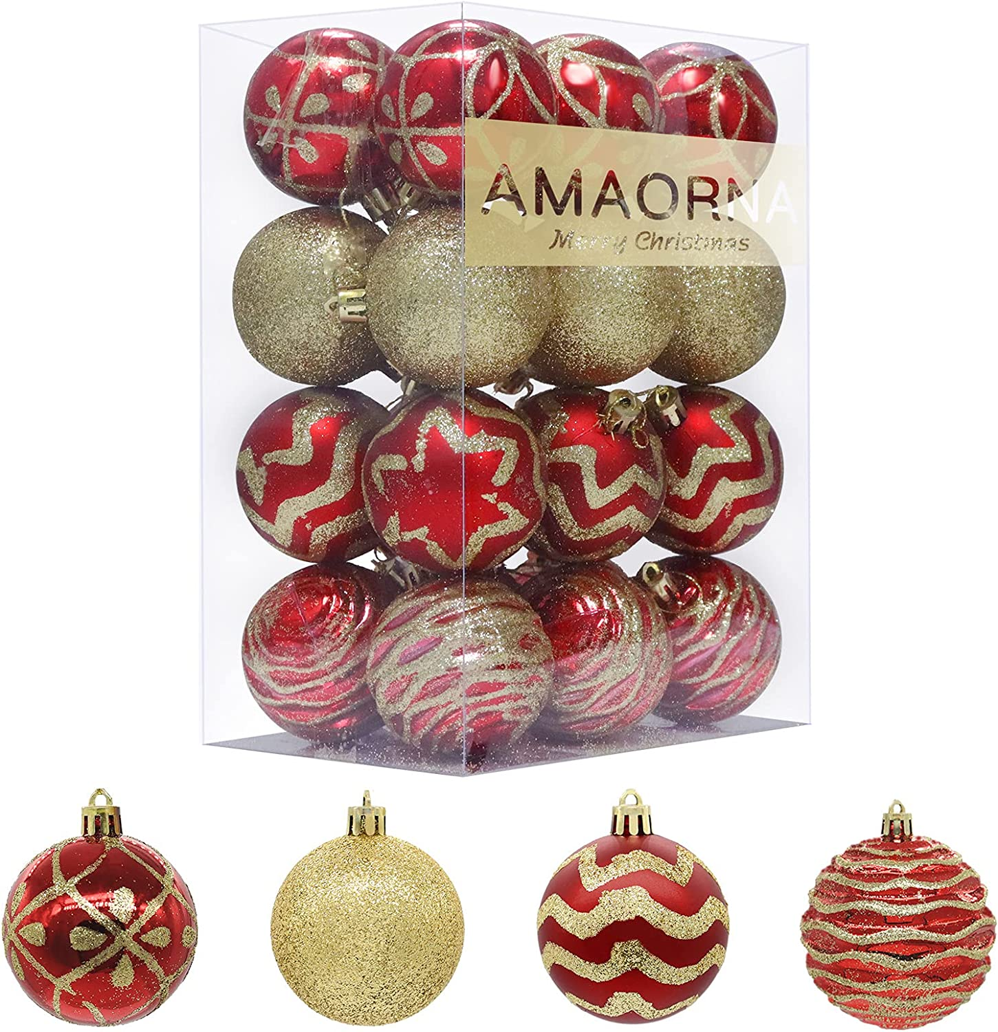 24PCS Christmas Balls Ornaments, Red and Gold Shatterproof Shiny Matte Glittering Christmas Tree Hanging Balls Set for Christmas Tree, Xmas Holiday, Home, Party Decorations 2.36