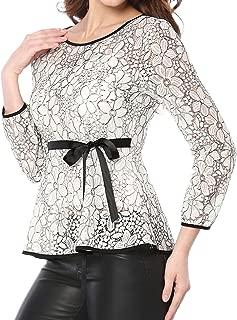 Allegra K Women's Tie Waist Formal Long Sleeve Semi Sheer Lace Peplum Top
