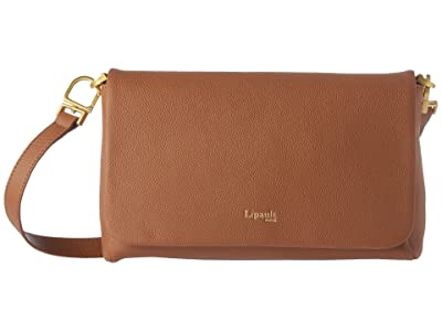 Lipault Paris Plume Elegance Leather Medium Clutch Bag (Cognac) Handbags