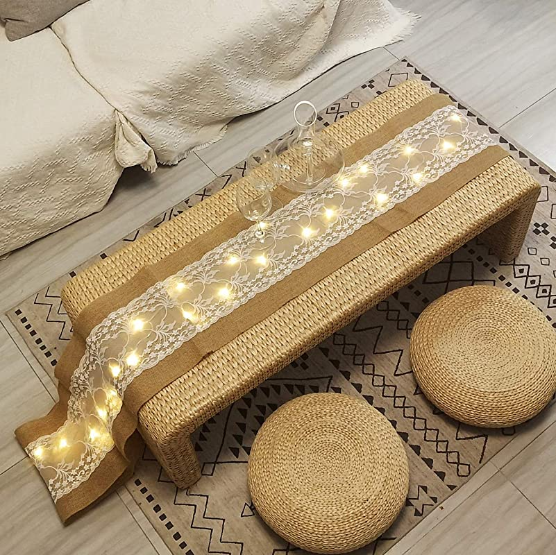 40 LED Table Runner With String Lights Handmade Burlap Roll Linen Fabric Tablecloth Lace Natural Jute Rectangle Table Cover For Buffet Party Holiday Dinner Reception Wedding Decor 12 X 108 Inch