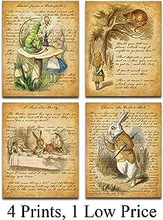 Alice In Wonderland - Set of Four Prints (11x14) Unframed - Makes a Great Gift Under $25 for Alice in Wonderland Fans!