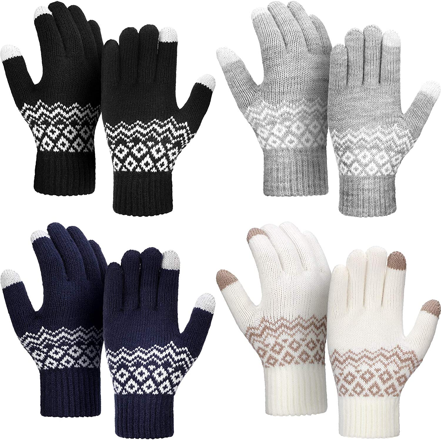 4 Pairs Winter Knit Touchscreen Gloves Windproof Anti-slip Mittens for Women Men (Style Set 1, Size 1)