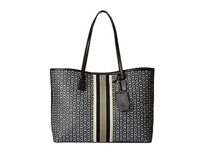 Tory Burch Gemini Link Canvas Tote (Black) Handbags