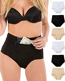 Barbra's Women's Travel Pocket Underwear Girdle Brief Panties S-4XL