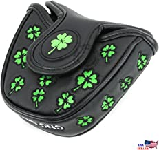 Lucky Clover Black MALLET Putter Cover Headcover For Scotty Cameron Taylormade Odyssey 2ball