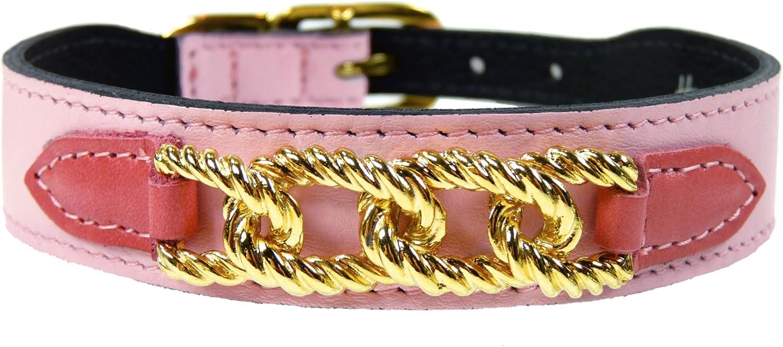 Hartman & pink 1469 Mayfair Dog Collar, 8 to 10Inch, Sweet Pink with Petal Pink Tabs