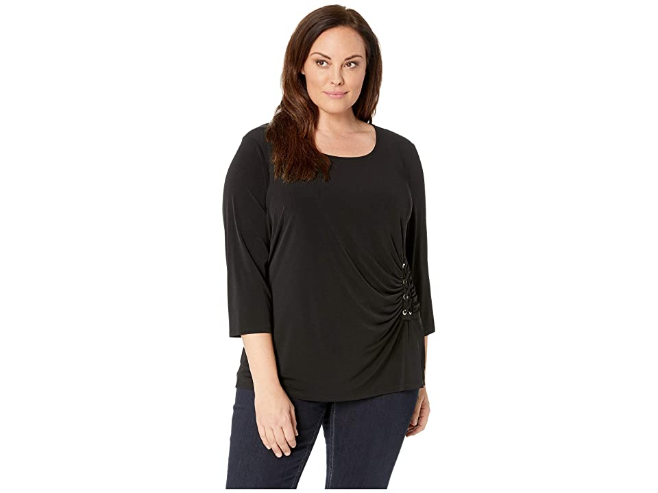 a912d2bb6c2128 Calvin Klein Plus Plus Size 3 4 Sleeve Knit with Lacing (Black) Women