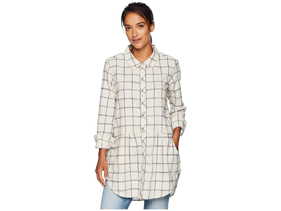 Mod-o-doc Windowpane Flannel Plaid Long Sleeve Button Front Shirt with Pockets (Winter White) Women