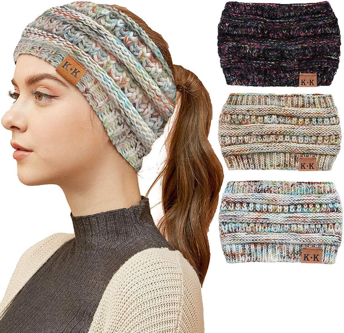 WharFlag Womens Winter Headbands - Ponytail Beanie Hats Women Knit Ear Warmer Headband Headwrap Horsetail Messy Bun Hats