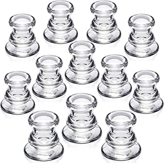 NITIME Candlestick Holders Bulk - 12PCS Taper Candle Holders for Table Centerpieces - Thick Glass Candle Holders for Weddi...
