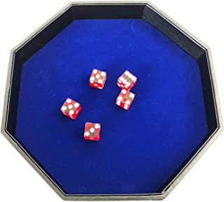 YH Poker 11.5 Inch Octagon Dice Tray - Heavy Duty Leatherette with Velvet Rolling Surface ¡