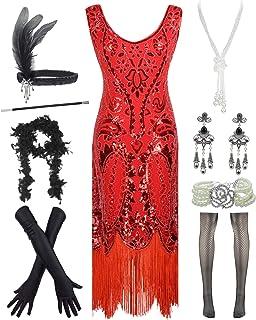 YENMILL Women's 1920s Vintage Flapper Fringe Beaded Great Gatsby Party Dress w/Accessories Set