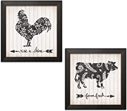 Gango Home Decor French-Country Rise N Shine Rooster & Farm Fresh Cow by Annie LaPoint (Ready to Hang); Two 12x12in Black Framed Prints