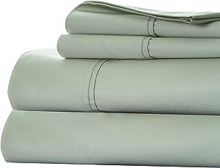 Bedford Home Cotton Rich Sateen Sheet Set, Queen, Green