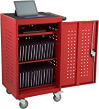 Learniture LNT-NOR1008RD-SO Structure Series 30-Device Tablet Charging Cart w/ Electric (Assembled), Red