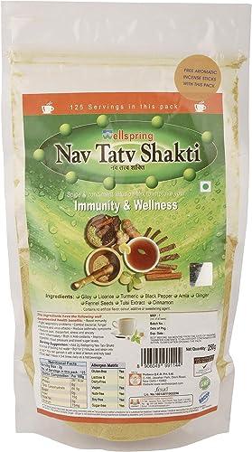 Wellspring Immunity Booster Kadha Tea Powder Nav Tat Shakti 250g Pouch Spice and Condiment Infusion Mix Contains Giloy Tulsi Extract Amla Ginger Use as a Tea Ayurvedic Kadha