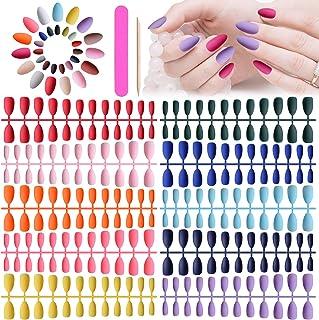 720 stuks korte stiletto pers op nagels, Kalolary matte amandel kunstmatige volledige dekking kunstnagels effen pure kleur...