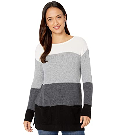 Vince Camuto Specialty Size Petite Two-Pocket Waffle Stitch Color Block Sweater (Antique White) Women
