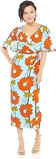 Maggy London Women's Stem Bloom Printed Crepe Draped Dress