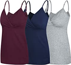 Nursing Tops Tank Shirt Cami Sleep Bra for Maternity and Breastfeeding