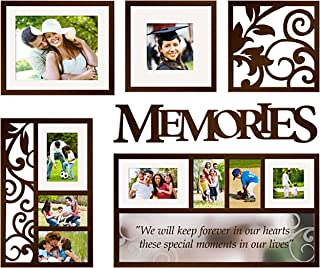 Jerry & Maggie - Photo Frame | Plaque | Mirror College Frame - Wall Hanging Decoration Combination - Dark Brown Picture Frame Selfie Gallery Collage Hanging Template & Mounting Valentine Graduation