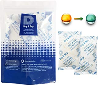 Dry & Dry 100 Gram [5 Packs] Silica Gel Food Safe Orange Indicating(Orange to Dark Green) Mixed Silica Gel Packets Desiccant - Rechargeable Silica Packets for Moisture Absorber Silica Gel Packs