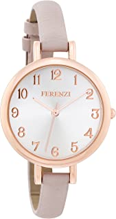 Women's Watches by FERENZI | Elegant Rose Gold-Tone Grey-Beige PU Leather Thin Band Watch | FZ15501
