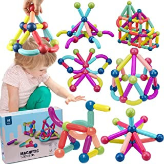 68 PCS Magnetic Building Sticks Blocks Toys, Magnet Educational Toys Magnetic Blocks Sticks Stacking Toys Set for Kids 3D ...