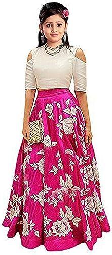 Girl s Banglori Silk Semi stitched Lehenga Choli