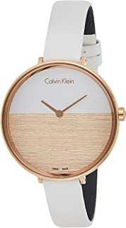 Calvin Klein Womens Quartz Watch, Analog Display and Leather Strap K7A236LH-