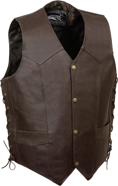 Event Leather Men's Eagle/Flag Vest (Brown, X-Large)