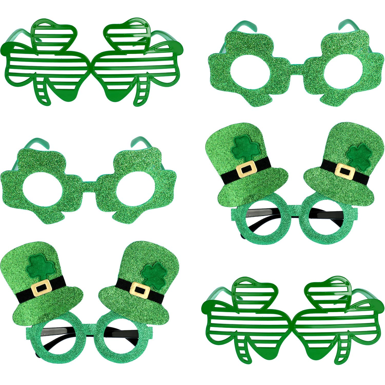 Patricks Day Shamrock Sunglasses Green Shutter Shades Clover Glasses Bulk for Kids Adults Party Favors Accessories Gift Boutique 24 St