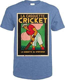 La Casquette Cricket Vintage Poster (artist: Rouffe) France c. 1927 62764 (Heather Royal T-Shirt XX-Large)
